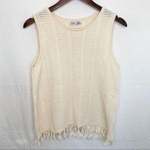 Dex / Loose Knit Fringe Tassel Top - Size L